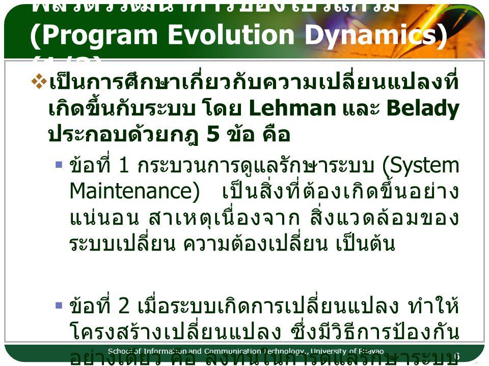 พลวัตวิวัฒนาการของโปรแกรม (Program Evolution Dynamics) (1/3)
