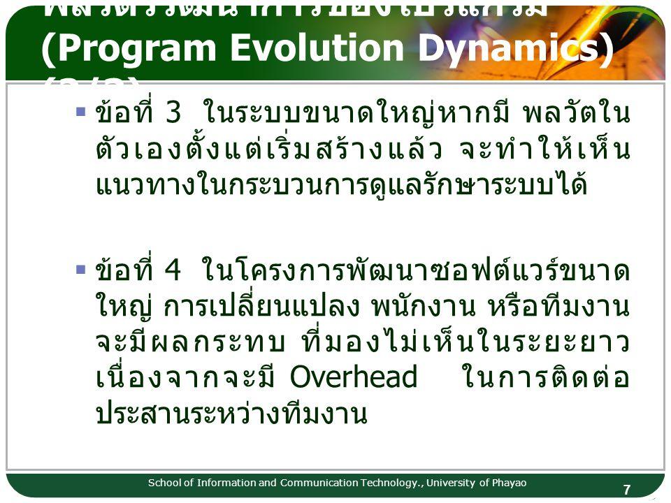 พลวัตวิวัฒนาการของโปรแกรม (Program Evolution Dynamics) (2/3)