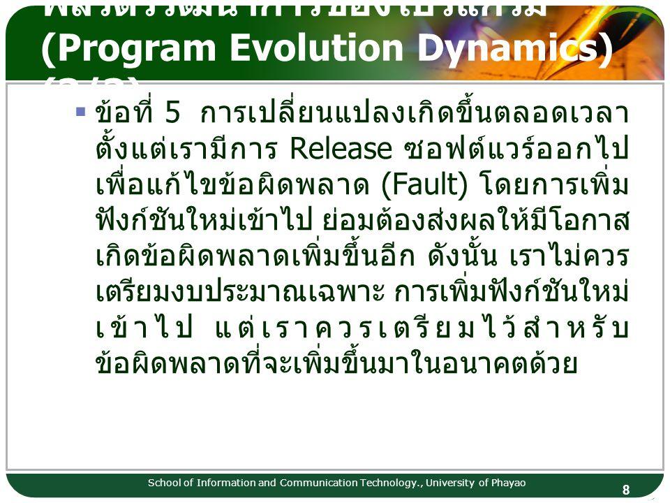 พลวัตวิวัฒนาการของโปรแกรม (Program Evolution Dynamics) (3/3)