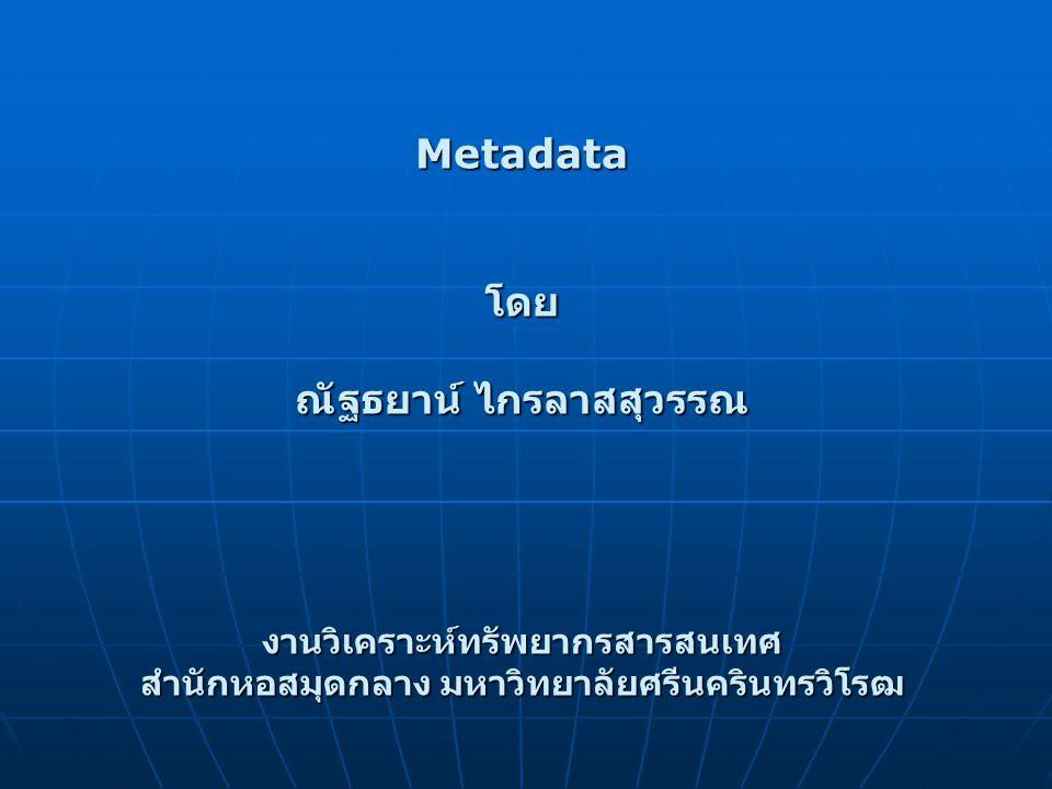 Metadata โดย ณัฐธยาน์ ไกรลาสสุวรรณ
