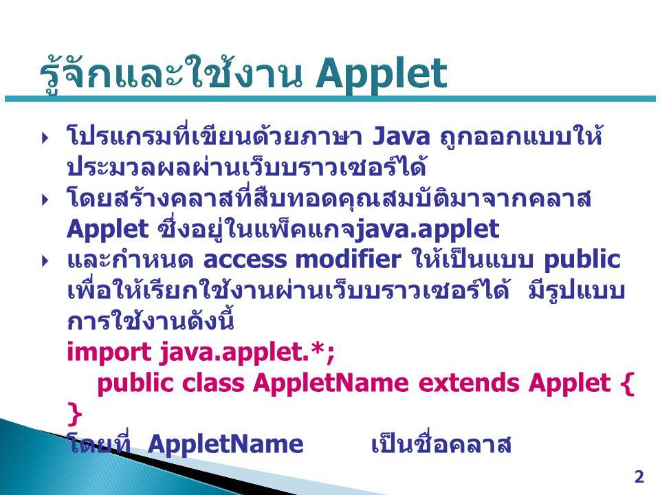 รู้จักและใช้งาน Applet