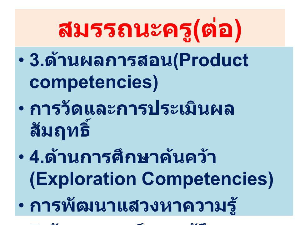 สมรรถนะครู(ต่อ) 3.ด้านผลการสอน(Product competencies)