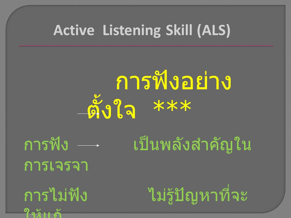Active Listening Skill (ALS)