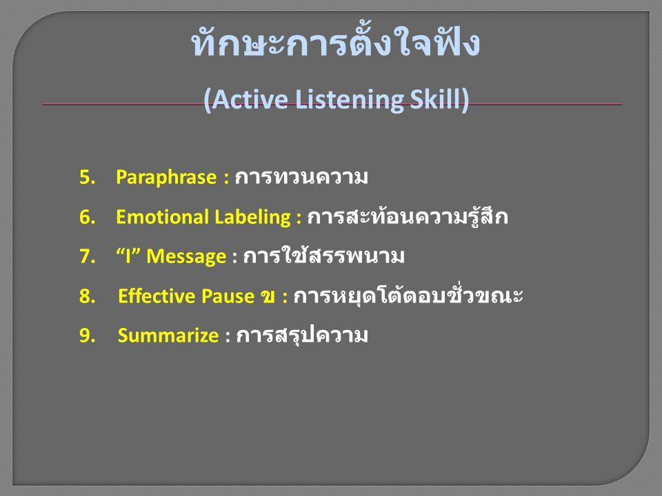 (Active Listening Skill)