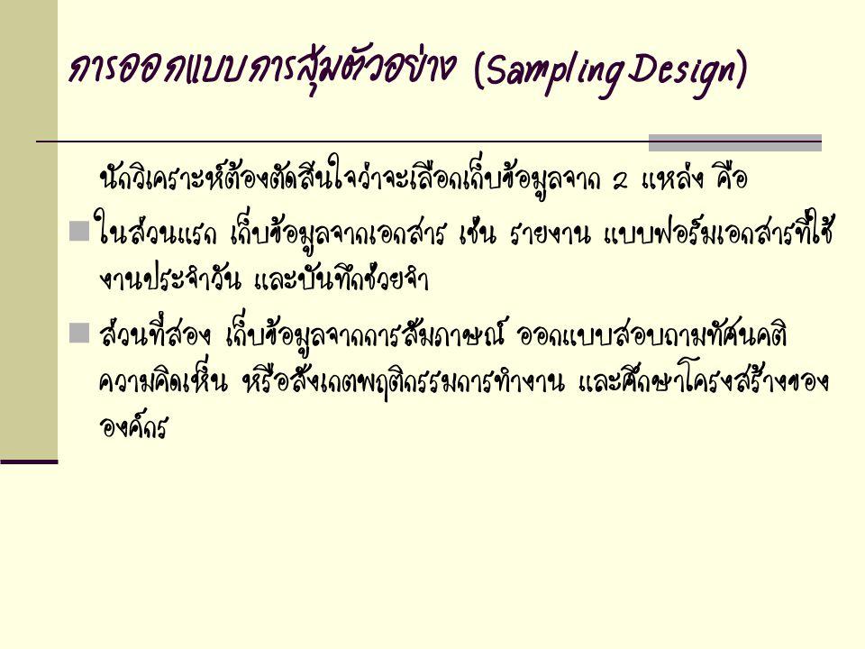 การออกแบบการสุ่มตัวอย่าง (Sampling Design)