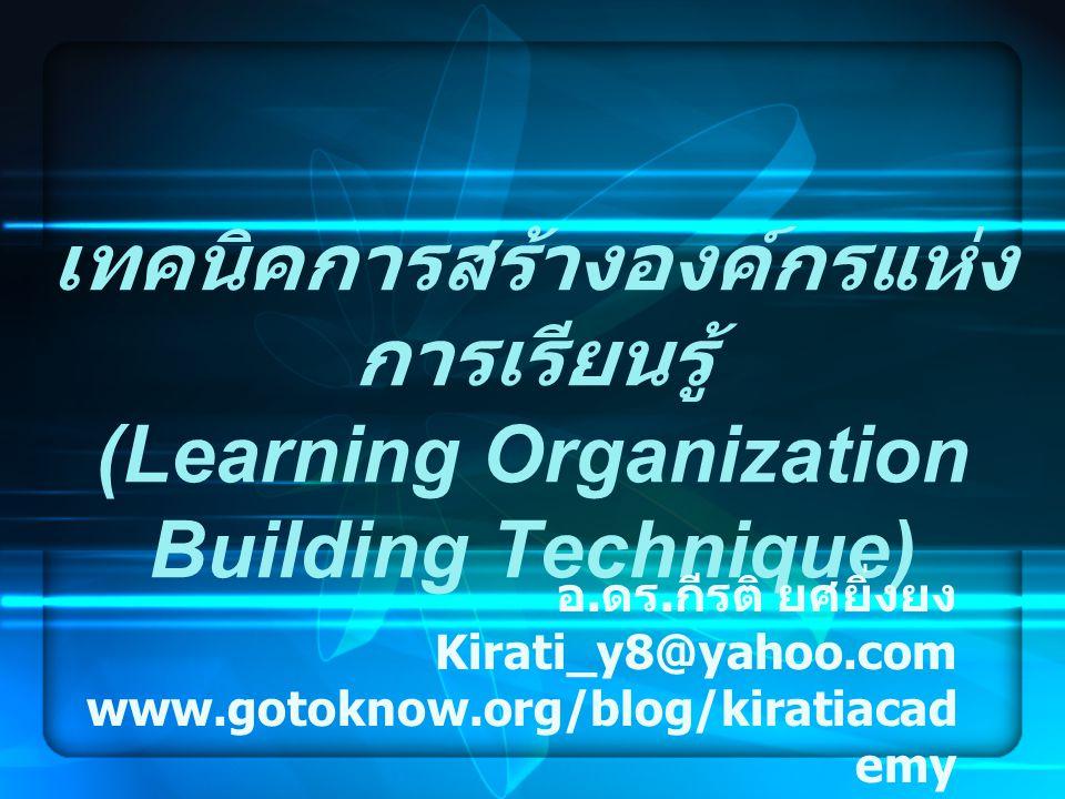 เทคนิคการสร้างองค์กรแห่งการเรียนรู้ (Learning Organization Building Technique)