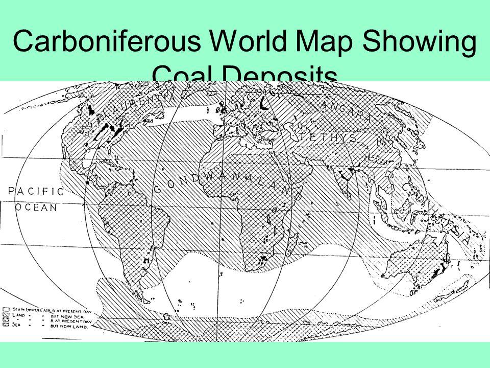 Carboniferous World Map Showing Coal Deposits