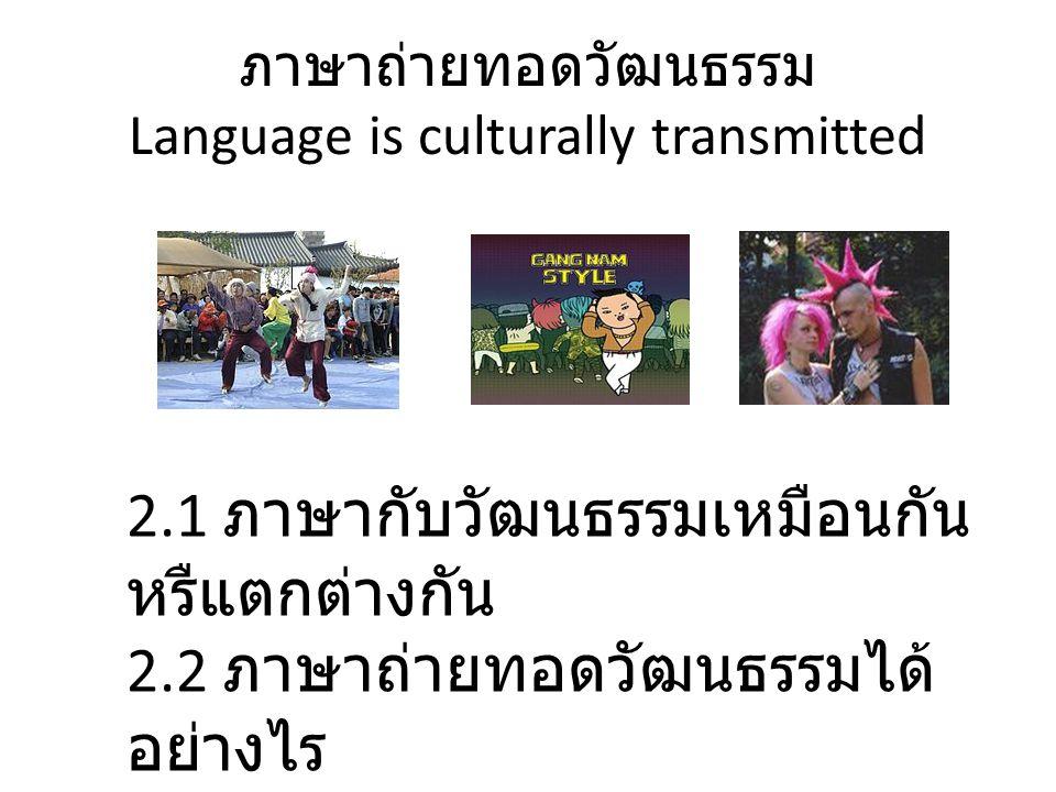 ภาษาถ่ายทอดวัฒนธรรม Language is culturally transmitted