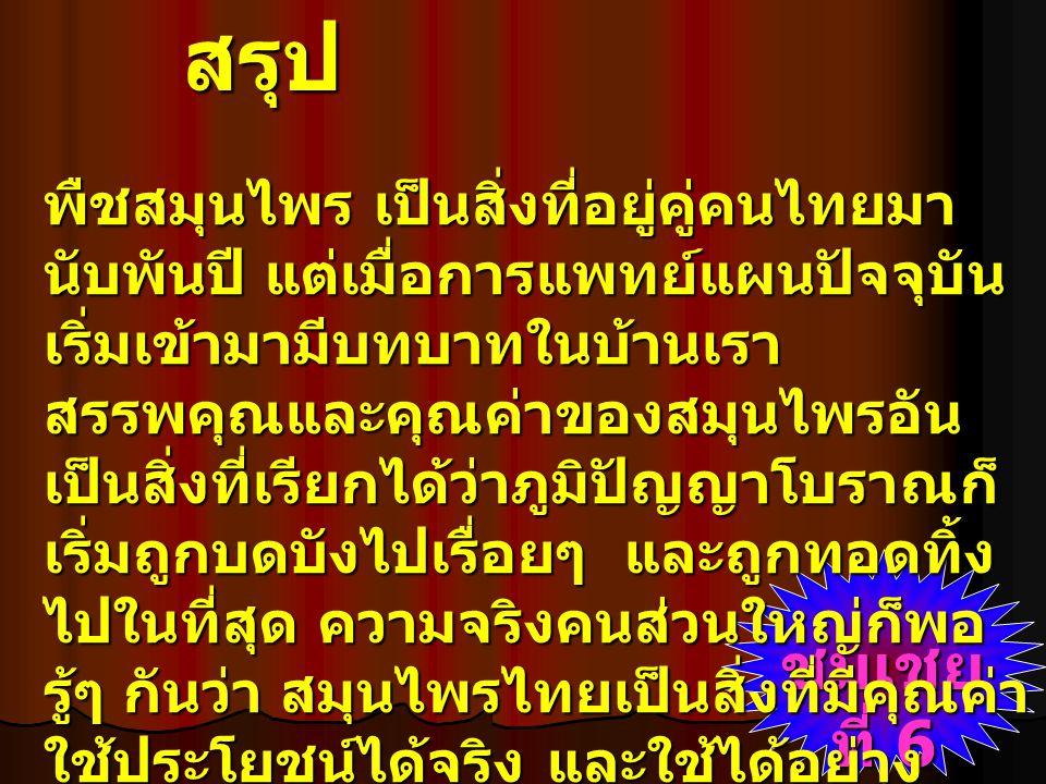 สรุป สรรพคุณของสมุนไพรไทย