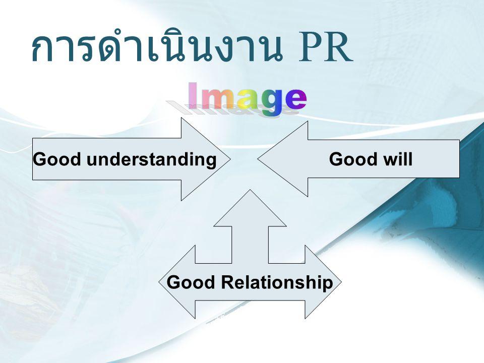 การดำเนินงาน PR Image Good understanding Good will Good Relationship