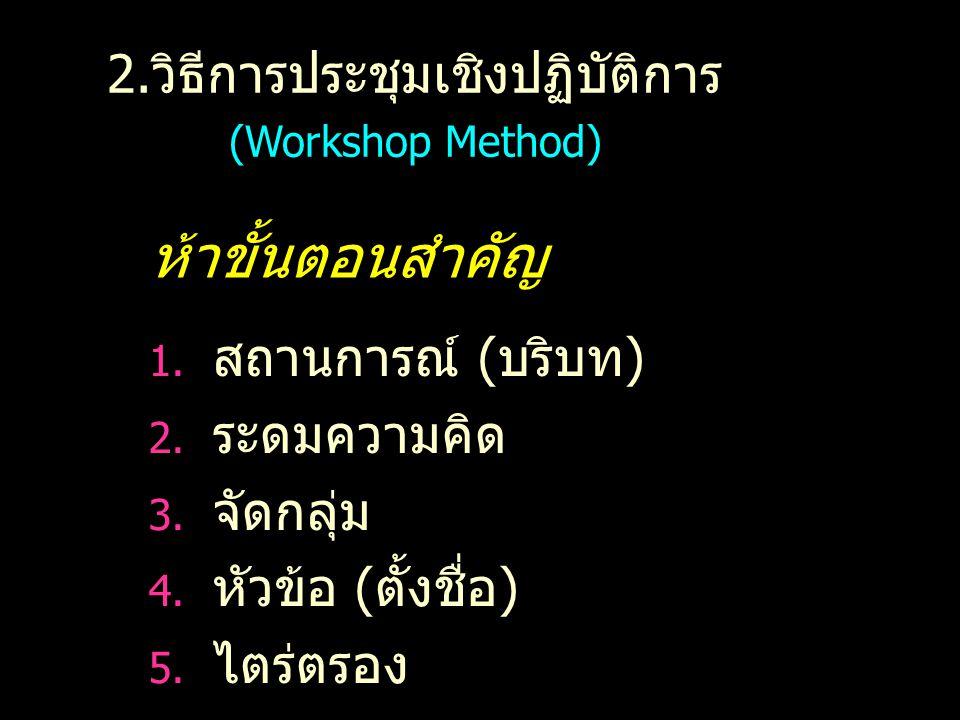 2.วิธีการประชุมเชิงปฏิบัติการ