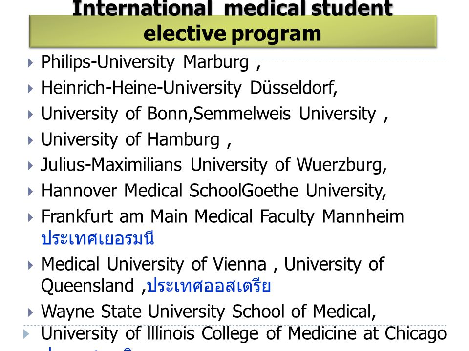 International medical student elective program