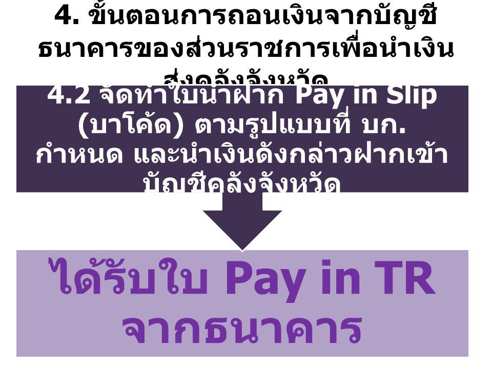 ได้รับใบ Pay in TR จากธนาคาร