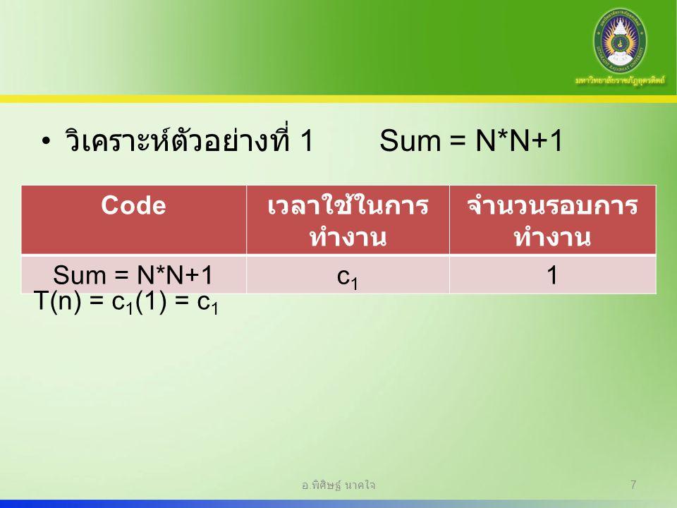 วิเคราะห์ตัวอย่างที่ 1 Sum = N*N+1