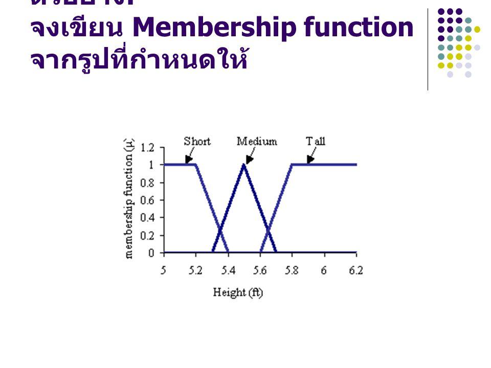 ตัวอย่าง: จงเขียน Membership function จากรูปที่กำหนดให้