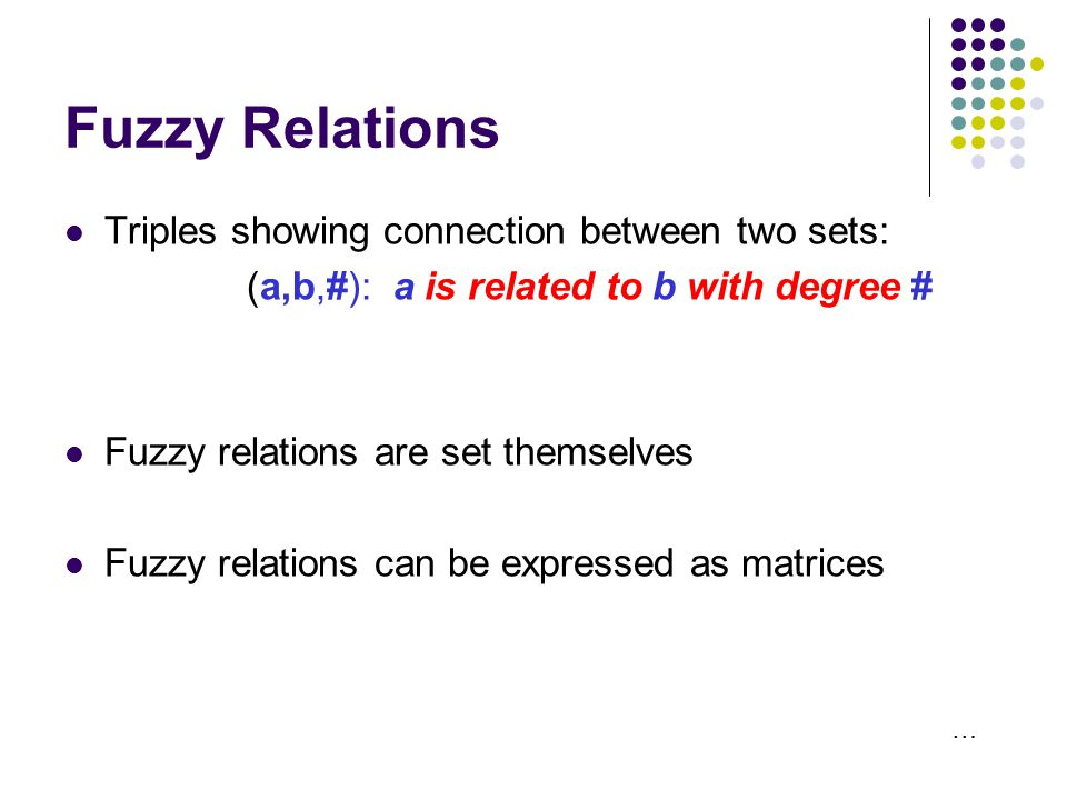 Fuzzy Relations Triples showing connection between two sets: