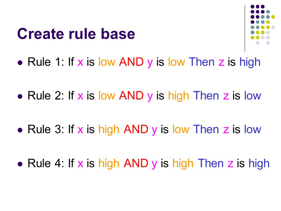Create rule base Rule 1: If x is low AND y is low Then z is high