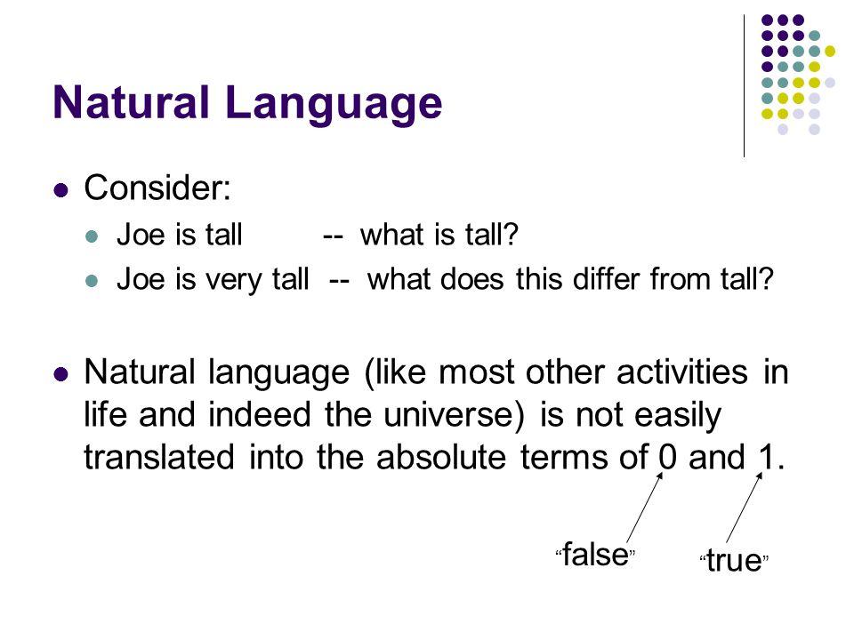 Natural Language Consider: