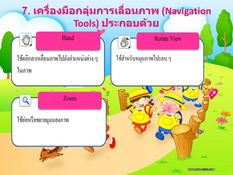 7. เครื่องมือกลุ่มการเลื่อนภาพ (Navigation Tools) ประกอบด้วย
