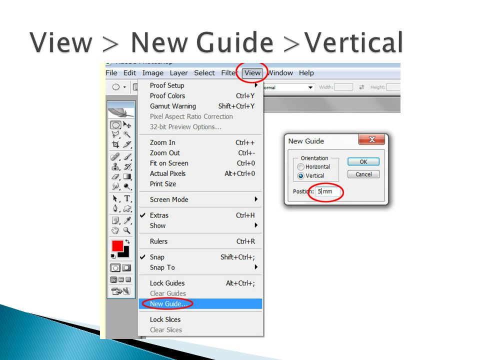 View > New Guide >Vertical