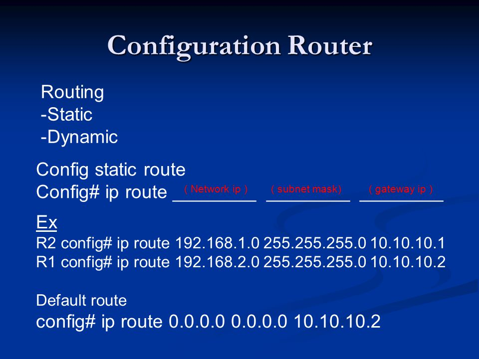 Configuration Router Routing Static Dynamic Config static route