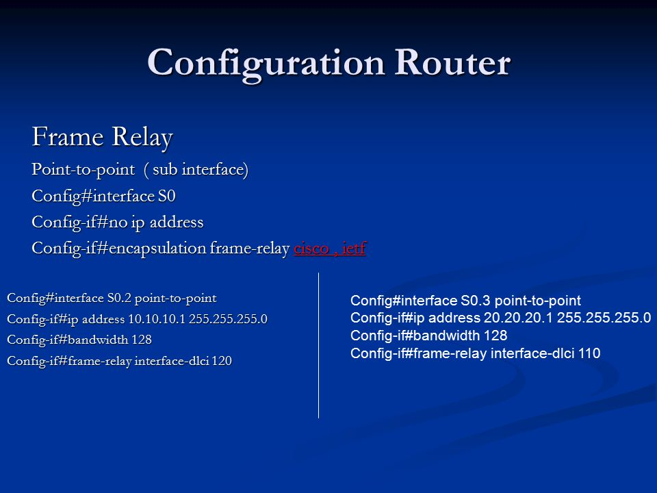 Configuration Router Frame Relay Point-to-point ( sub interface)