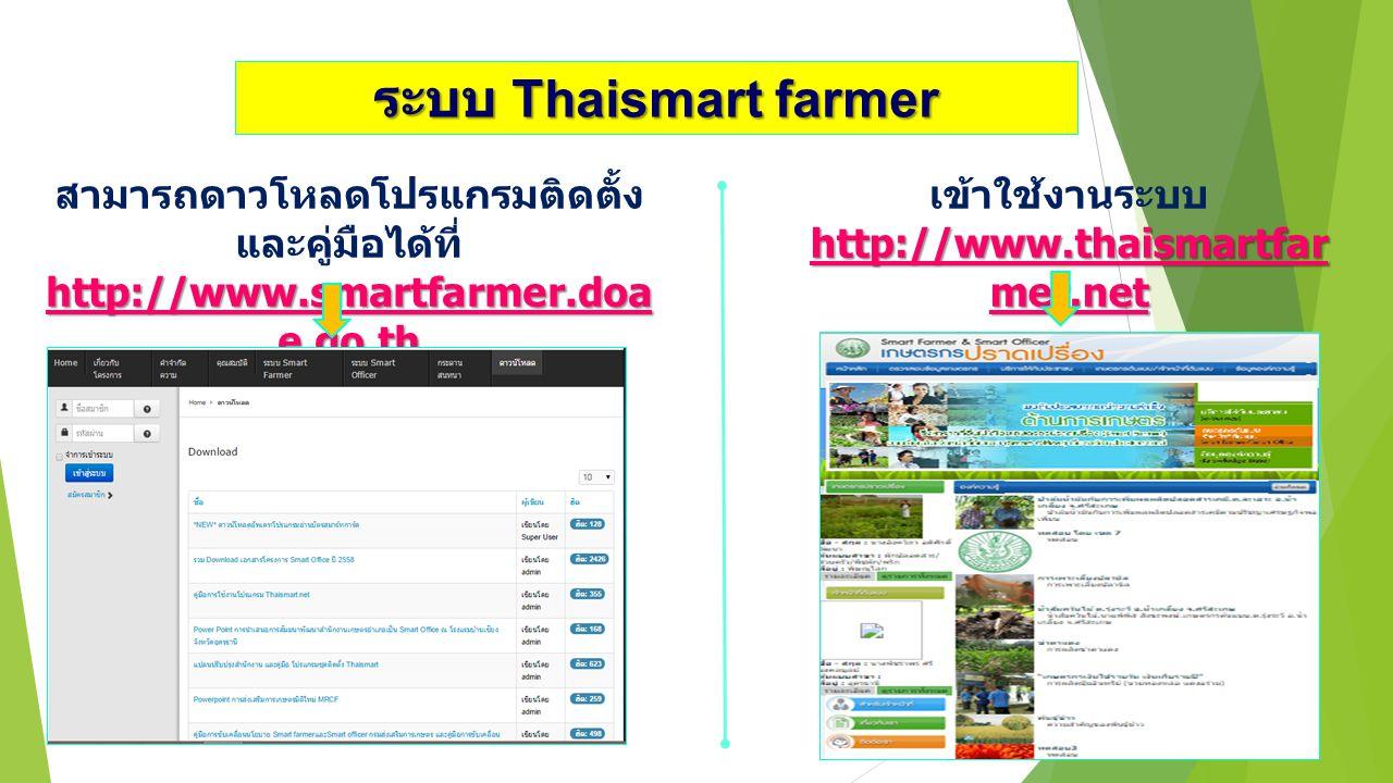 ระบบ Thaismart farmer สามารถดาวโหลดโปรแกรมติดตั้งและคู่มือได้ที่ http://www.smartfarmer.doae.go.th.
