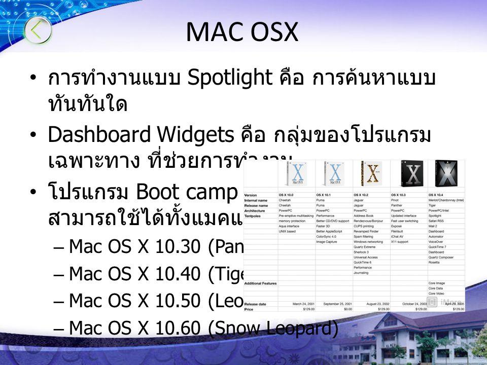 MAC OSX การทำงานแบบ Spotlight คือ การค้นหาแบบทันทันใด