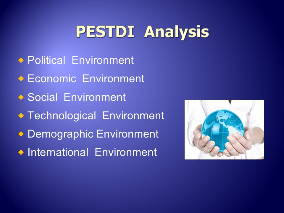 PESTDI Analysis Political Environment Economic Environment