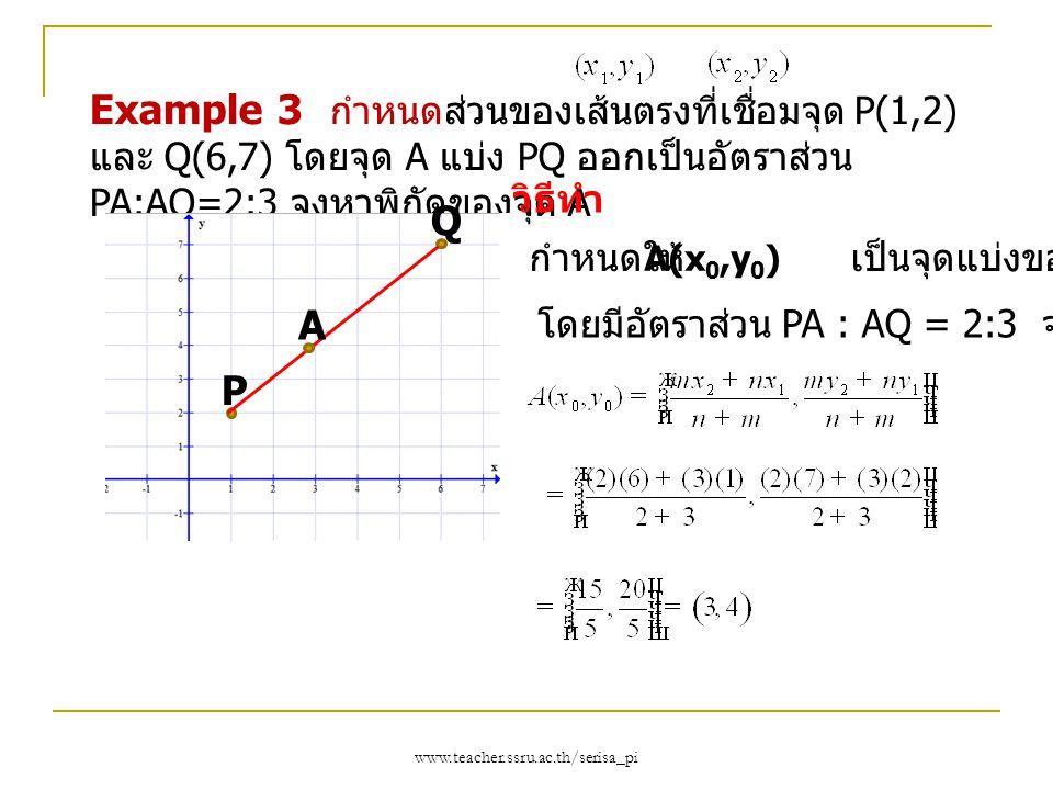 Example 3 กำหนดส่วนของเส้นตรงที่เชื่อมจุด P(1,2) และ Q(6,7) โดยจุด A แบ่ง PQ ออกเป็นอัตราส่วน PA:AQ=2:3 จงหาพิกัดของจุด A