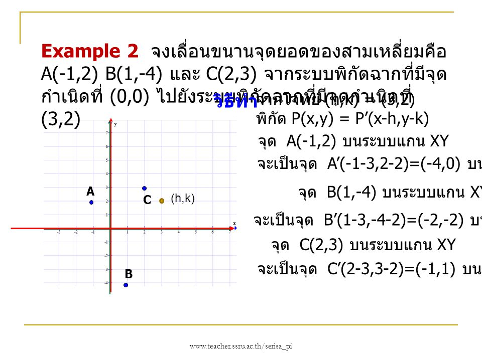 Example 2 จงเลื่อนขนานจุดยอดของสามเหลี่ยมคือ A(-1,2) B(1,-4) และ C(2,3) จากระบบพิกัดฉากที่มีจุดกำเนิดที่ (0,0) ไปยังระบบพิกัดฉากที่มีจุดกำเนิดที่ (3,2)