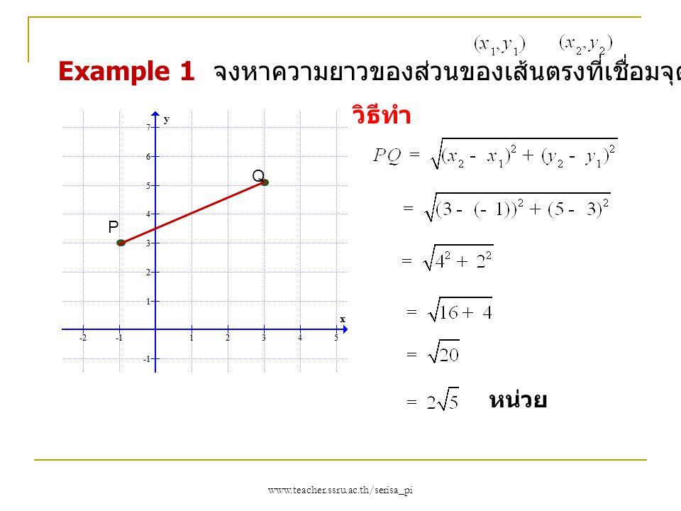 Example 1 จงหาความยาวของส่วนของเส้นตรงที่เชื่อมจุด P(-1,3) และ Q(3,5)