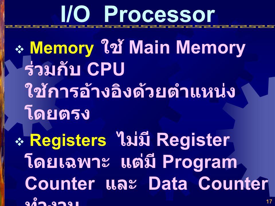 I/O Processor Memory ใช้ Main Memory ร่วมกับ CPU ใช้การอ้างอิงด้วยตำแหน่งโดยตรง.