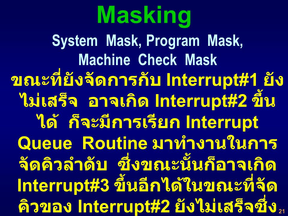 System Mask, Program Mask, Machine Check Mask