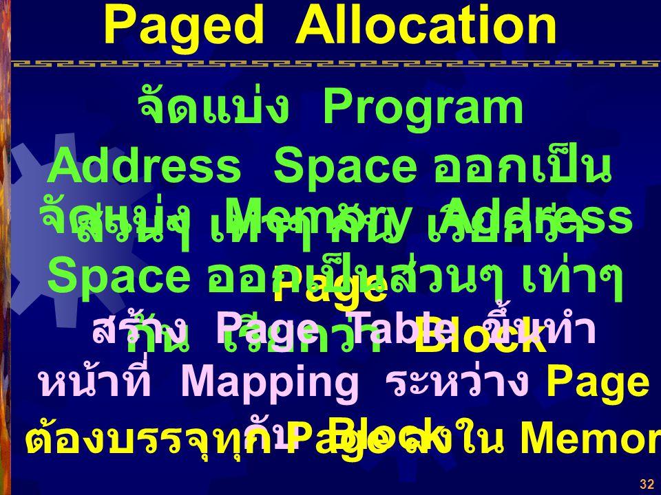 Paged Allocation จัดแบ่ง Program Address Space ออกเป็นส่วนๆ เท่าๆ กัน เรียกว่า Page.