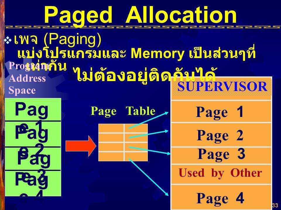 Paged Allocation Page 1 Page 2 Page 3 Page 4 ไม่ต้องอยู่ติดกันได้