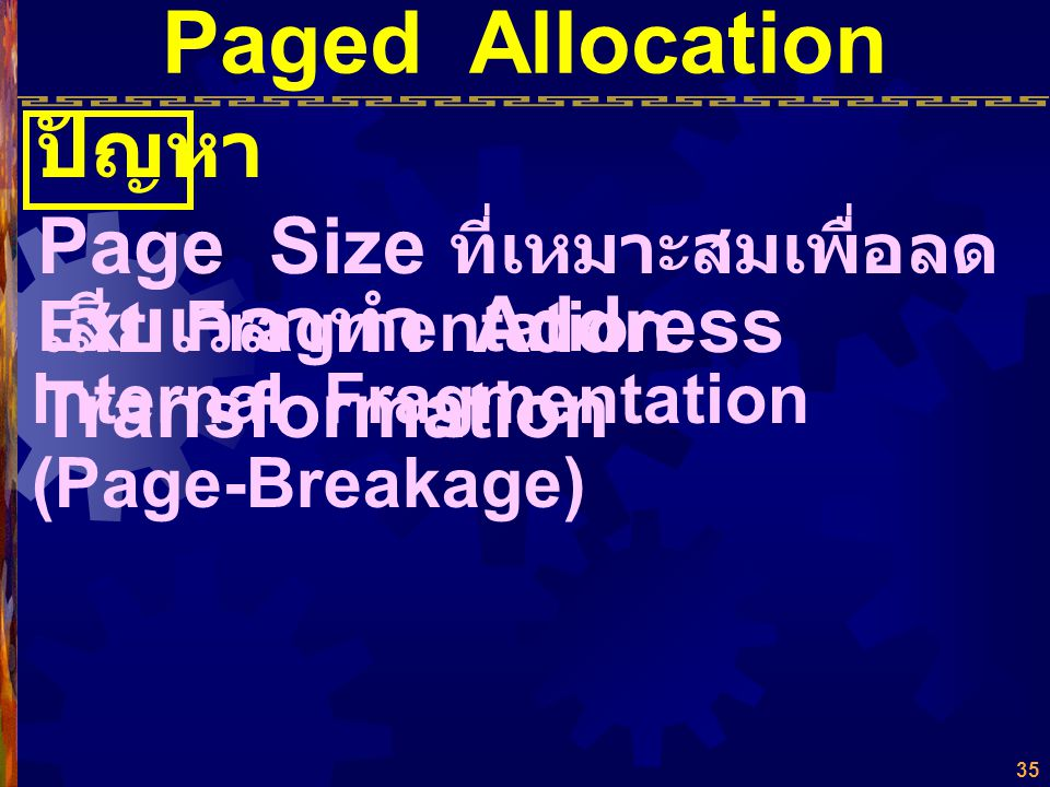 Paged Allocation ปัญหา Page Size ที่เหมาะสมเพื่อลด Ext. Fragmentation