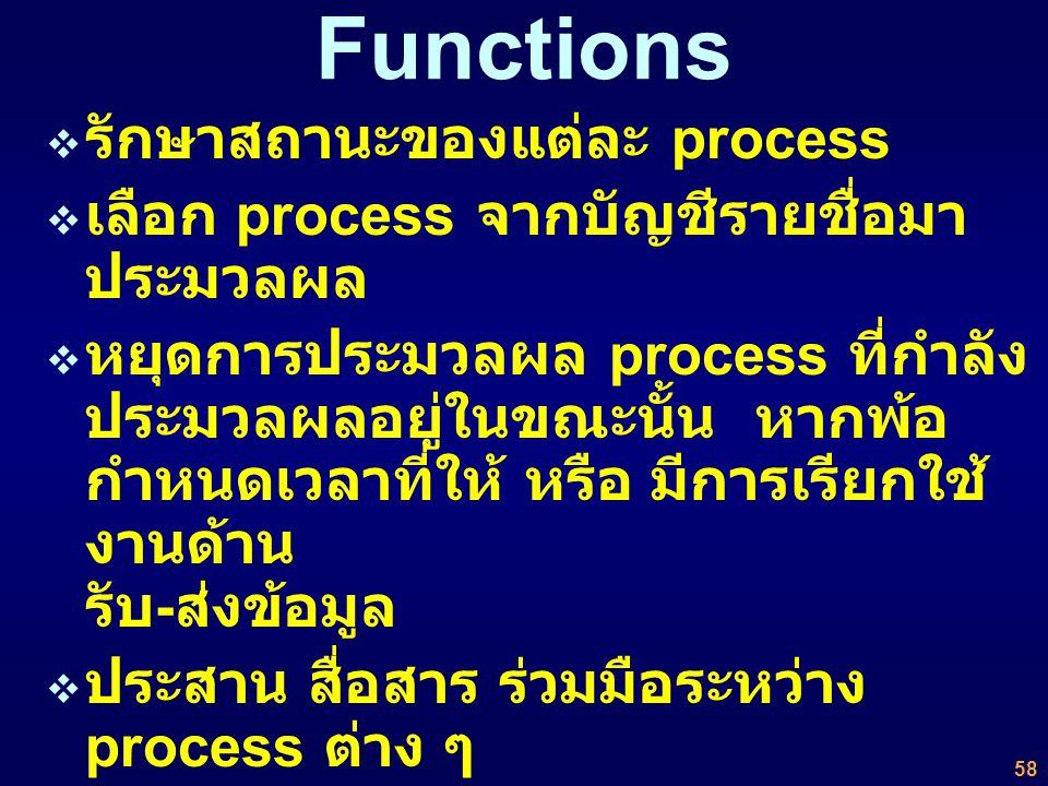 Functions รักษาสถานะของแต่ละ process