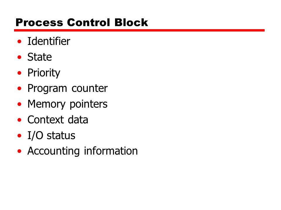 Process Control Block Identifier. State. Priority. Program counter. Memory pointers. Context data.