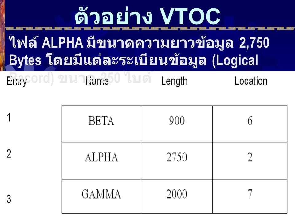 ตัวอย่าง VTOC ไฟล์ ALPHA มีขนาดความยาวข้อมูล 2,750 Bytes โดยมีแต่ละระเบียนข้อมูล (Logical Record) ขนาด 250 ไบต์