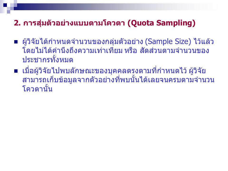2. การสุ่มตัวอย่างแบบตามโควตา (Quota Sampling)