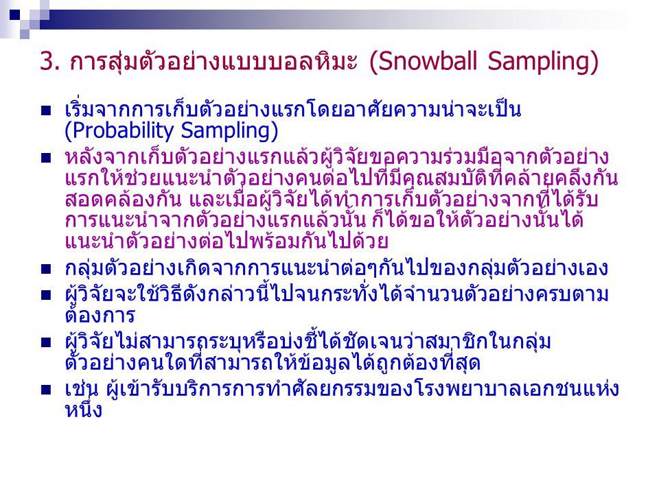 3. การสุ่มตัวอย่างแบบบอลหิมะ (Snowball Sampling)