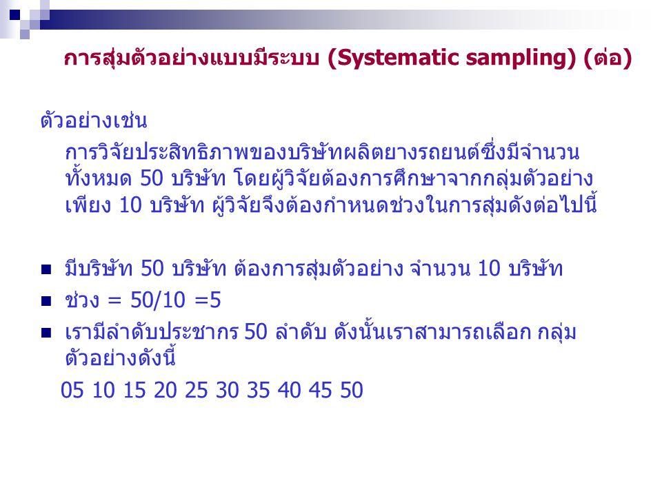 การสุ่มตัวอย่างแบบมีระบบ (Systematic sampling) (ต่อ)