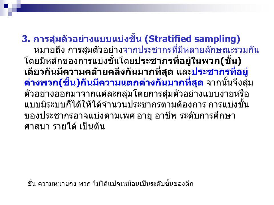 3. การสุ่มตัวอย่างแบบแบ่งชั้น (Stratified sampling)