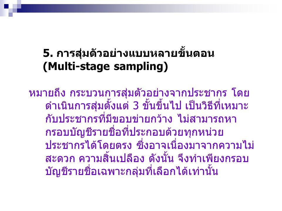 5. การสุ่มตัวอย่างแบบหลายขั้นตอน
