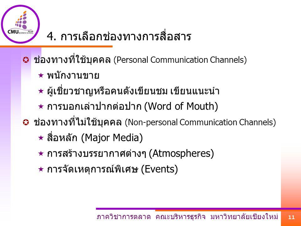 4. การเลือกช่องทางการสื่อสาร