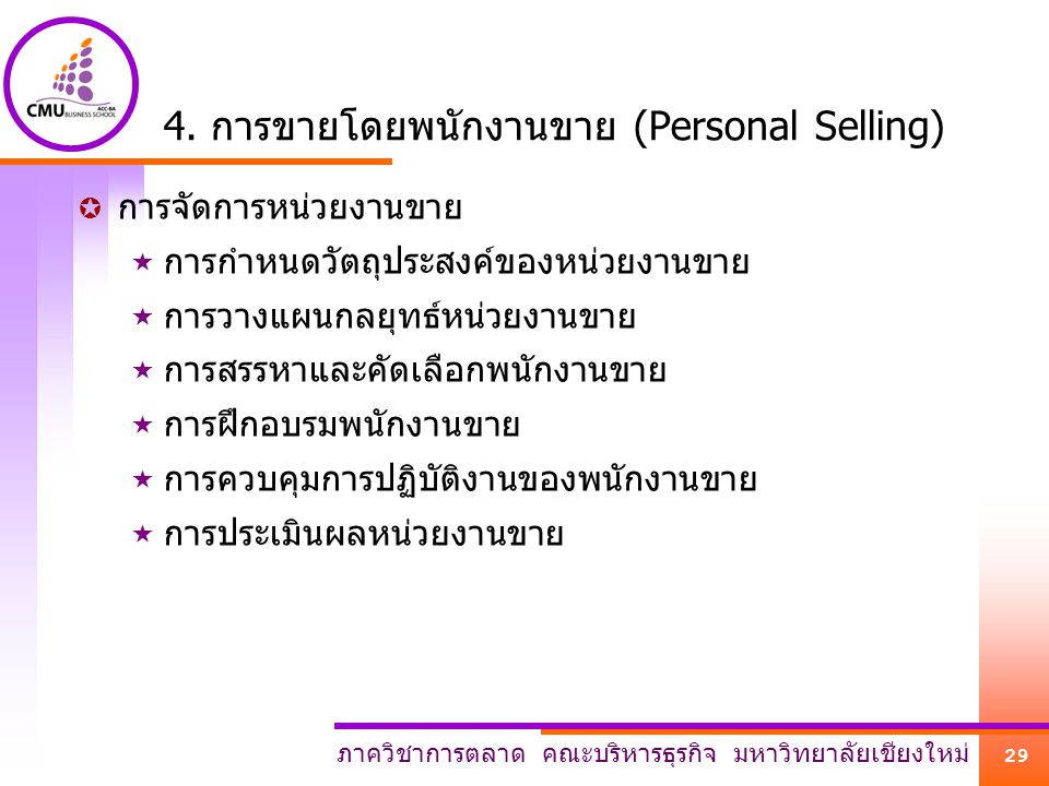 4. การขายโดยพนักงานขาย (Personal Selling)