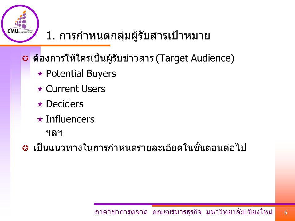 1. การกำหนดกลุ่มผู้รับสารเป้าหมาย