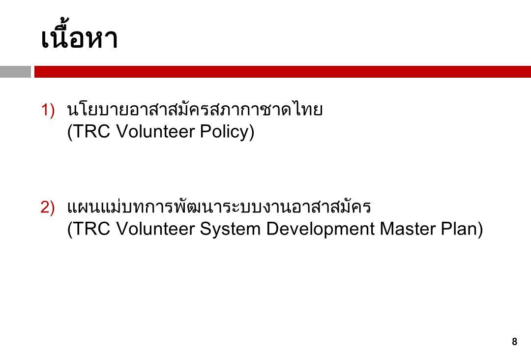 เนื้อหา นโยบายอาสาสมัครสภากาชาดไทย (TRC Volunteer Policy)