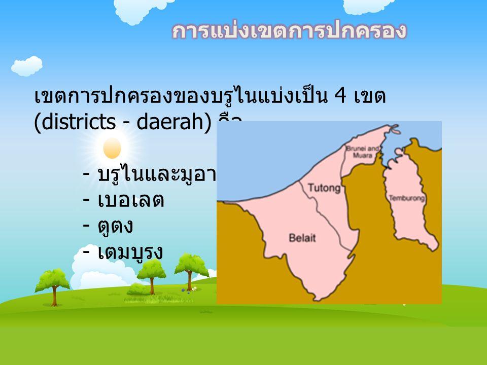 การแบ่งเขตการปกครอง เขตการปกครองของบรูไนแบ่งเป็น 4 เขต (districts - daerah) คือ. - บรูไนและมูอารา.